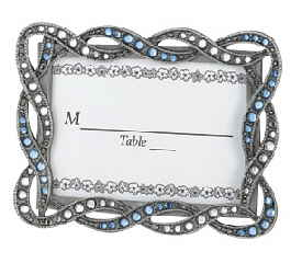 pewter place card frame with clear u0026 blue stones minimum order 10 frames 10 to 29 frames 370 each 30 to 71 frames 295 each 72 order more 285 each